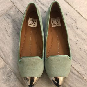 Light mint and silver dolce vita flats